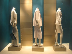 Less is More is easy to see in Max Mara's shop window…courtesy of Jonathan Baker, retailstoresindows.com